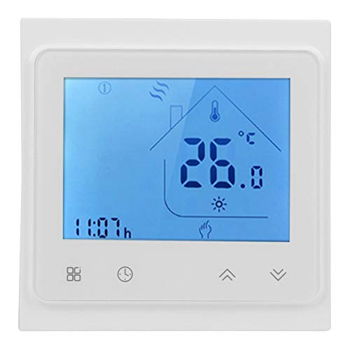 Smart Thermostat, WiFi Smart Voice Thermostat for Boiler Heating Use Alexa LCD Touching Screen AC 95‑240V(White)