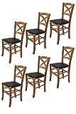 Tommychairs - Set 6 sillas Cross para Cocina y Comedor, Estructura en Madera de Haya Color Nuez Claro y Asiento tapizado en Polipiel Color Negro