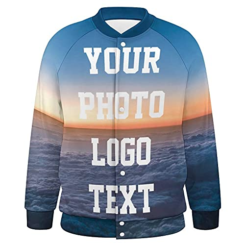 Custom Baseball Jacket, Personalized Full Printed Design Your Own With Photo Logo Text Baseball Varsity Uniform Jersey Sweater Shirt For Men Women
