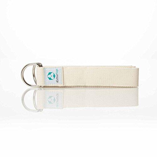 Cintura Yoga »Madira« / Cinghia per Yoga, Cintura in 100% Cotone con Stabile Fibbia Rotonda di Metallo / 250 x 3,8cm / Viola