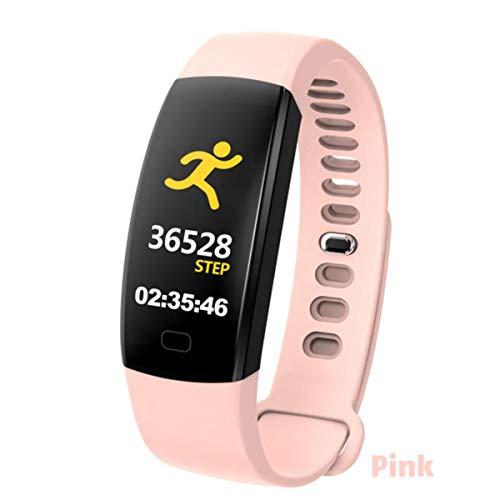 FXMINLHY Wasserdichtes Smart Armband Fitness Tracker Schrittzähler Fitness Band Wecker Vibrationsarmband Für Smartphone, Rosa Herzfrequenz-Schrittzähler