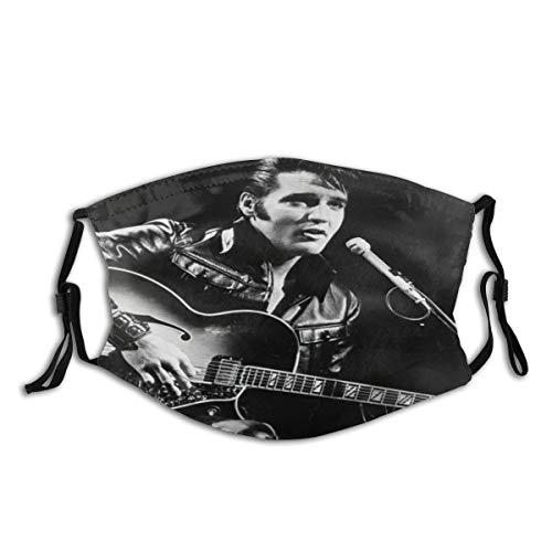 MEIDUOSI Cartoon Der Superstar Elvis Presley Halten Sie die Gitarre Schwarzweiß-Foto Schwarze Staubschutz, Wiederverwendbare und waschbare zum Laufen, Radfahren, Skifahren, Outdoor-Aktivitäten