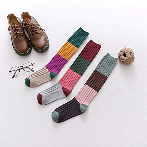 SIFNG Herbst Und Winter Warme Baumwollsocken Wadensocken Damen College Style Japanische Kniestrümpfe Doppelnadel Farblich passende Hochröhrchen Weibliche Socken Gekämmte Baumwolle