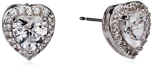 Pendientes de plata de ley con topacio azul suizo y halo de zafiro blanco creado en forma de corazón