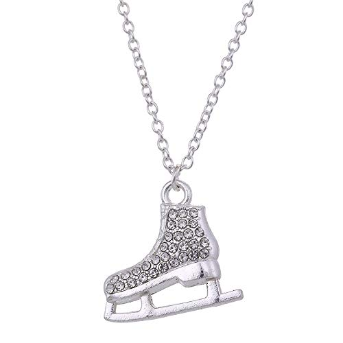 QMM necklace Pendant Fashion Jewelry Lively 3D Crystal Ice Skate Pendant Necklace for Girls Women Best Gifts Silver Color Chain