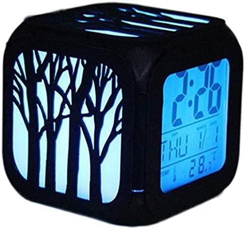 Clock Despertadors Reloj de Alarma estéreo 3D del Tema Forestal DIRIGIÓ Luz de Noche USB Cargando Siete Reloj Despertador LSJZXW
