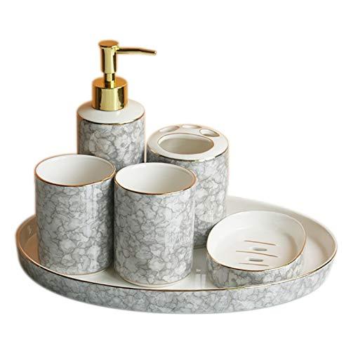 Botella dispensadora de jabón Casa Creativa Accesorios de baño de 6 Piezas Conjunto, Incluido el dispensador de jabón del dispensador del Cepillo de Dientes del dispensador de jabón, Taza de Placa de