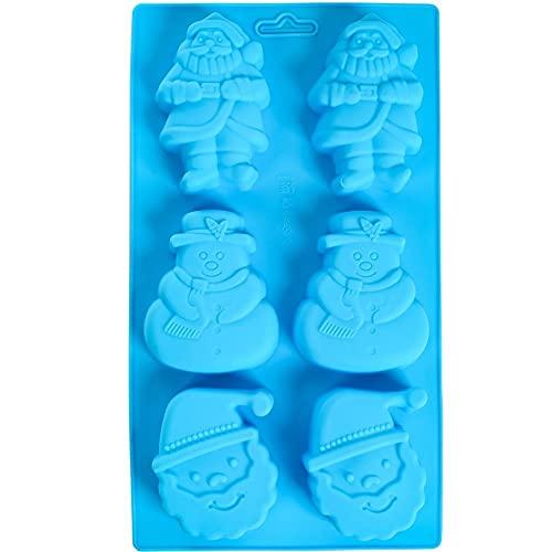 Orapink - Stampi per cioccolatini in silicone con Babbo Natale, pupazzo di neve, a forma di Babbo Natale, per torte e cioccolatini