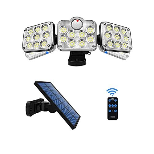 WEGOZONE Faro LED con Pannello Solare, Per Esterno, 138 LED, Luce Bianca, Potenza 2600 Lumens, Sensore di Movimento, Impermeabile IP65, Luci Solari Giardino.