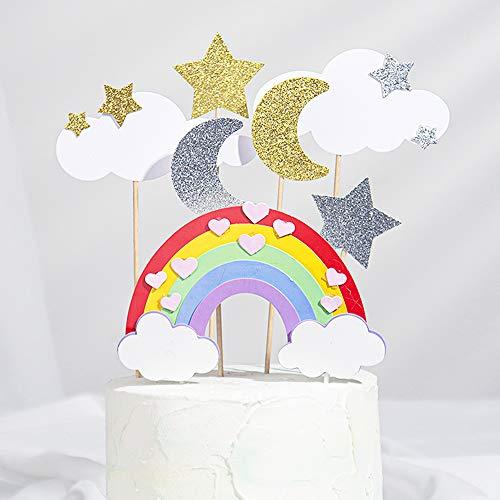 7PCS Rainbow Cake Topper Kit-Glitter Cloud Moon Star Cake Decoration for Birthday Wedding Party Cupcake Picks Supplies