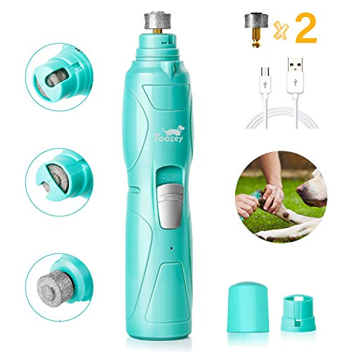Toozey Dog Nail Grinder, Professional 2-Speed Electric Dog Nail Clippers Trimmer with 2 Grinding Wheels, Rechargeable Low Noise Dog Nail File Painless Paws Grooming for Small Medium Large Dog and Cats