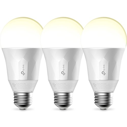 TP-Link Smart LED Light Bulb, Wi-Fi, Dimmable White, 50W Equivalent, Works w/ Amazon Alexa, 3-Pack (LB100 TKIT)
