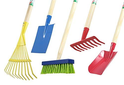 Agrarflora Kinder-Gartengeräte Set 5-teilig: Rechen, Fächerbesen, Spaten, Schaufel, Besen - Gartenwerkzeug-Set, Spielzeug-Set für den Garten, Kinder