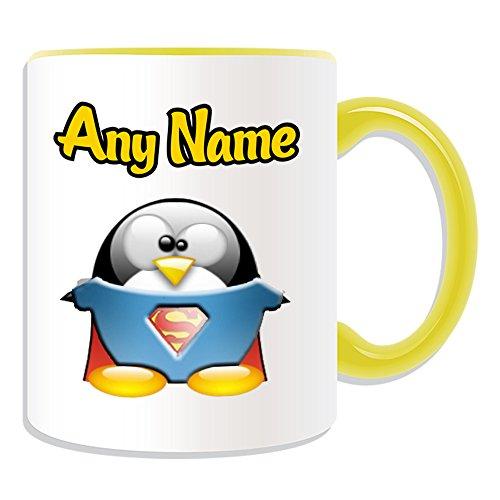 Taza de regalo personalizable, diseño de personajes de película de pingüino, opciones de color, cualquier nombre/mensaje en tu único, disfraz de superhéroe de Kal-El Clark Kent