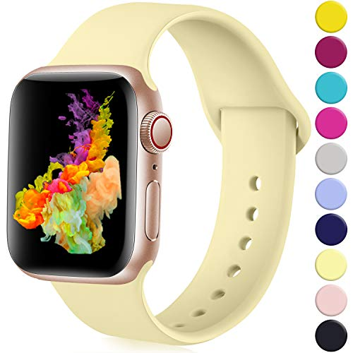 Rabini Compatible with Apple Watch Band 40mm 38mm, Replacement Accessory Sport Band for iWatch Apple Watch Series 5, Series 4, Series 3, Series 2, Series 1, Milk Yellow, S/M