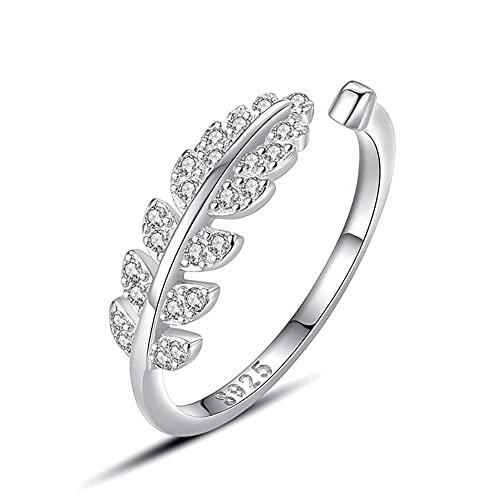 Anillo de plata para mujer, anillo de compromiso anillo de bodas de circonita cúbica blanca de plata de ley 925, anillo abierto con incrustaciones de microhojas suaves de bosque femenino