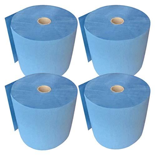 FEBLUE | Putzrolle blau 3-lagig [4 Rollen = 2.000 Blatt] 500 Blatt/Rolle | 26x35cm | hochwertige und sehr saugfähige Putztuchrolle