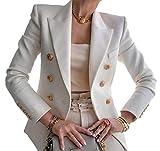 Blazer da Donna Giacca Tailleur a Maniche Lunghe Colletto Rivolto con Bottoni Casual Elegante per Ufficio Lavoro Business OL (Bianco, M)