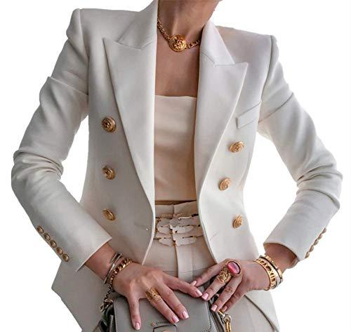 Blazer da Donna Giacca Tailleur a Maniche Lunghe Colletto Rivolto con Bottoni Casual Elegante per Ufficio Lavoro Business OL (Bianco, XL)
