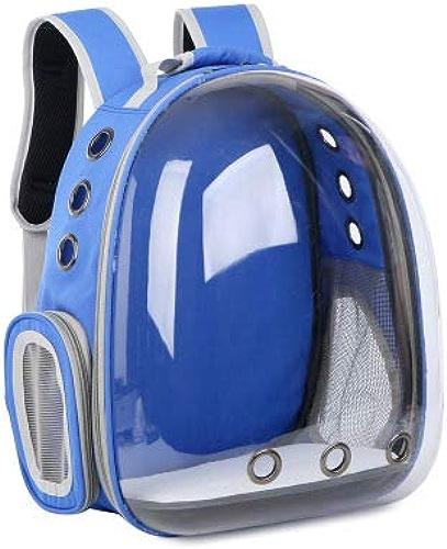 Linshenyoulu Pure Transparent Pet sac Cat sac Out portable sac Pet Sac à Dos Pet Space sac en Gros Chat Produits,bleu