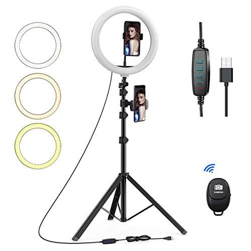 Ringleuchte, 10'' LED Ringlicht mit Stativ, Zwei Telefonhalter, Farbtemperatur und Helligkeit Einstellbar für Tiktok, YouTube, Live-Stream, Make-up…