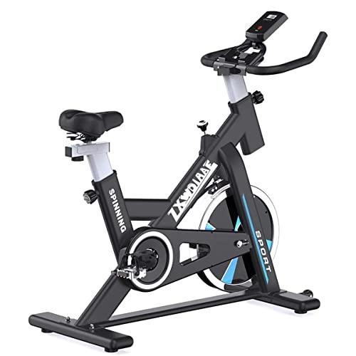 JiuErDP Bicicletas Estáticas Spinning Ciclo Indoor, Bicicleta Spinning con Transmisión por Correa, con Monitor LCD, Soporte para iPad, Altura Ajustable Peso Máximo del Usuario 150 Kg