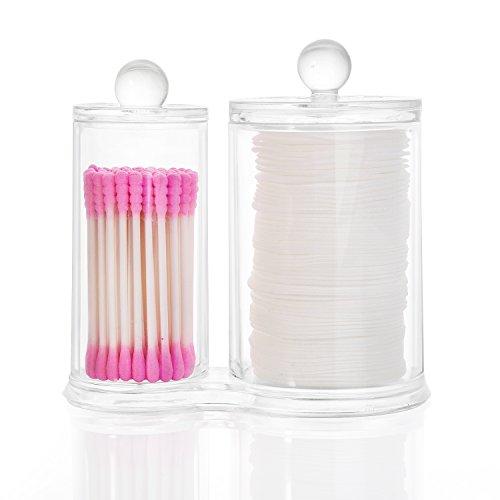 HBF Organizer Make Up Acrilico Porta Cotton Fioc con Organizer Cosmetici Cotone Contenitore Trucchi Trasparente