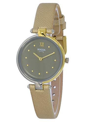 Boccia Damen Analog Quarz Uhr mit Leder Armband 3278-04