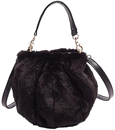 ASKI Bolsa de Cubo para Mujer Bolsa de Peluche Mini Bolso Hombro Mensajero Bolsa de diseño Lindo Regalo Cotidiano pequeño Bolso, Black - One Size
