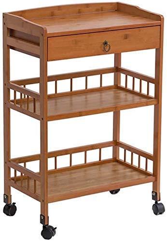 Pkfinrd Durable Medical Equipment Mehrzweckwagen mit Universal-Bremsrad, Medical Wagen Werkzeug 3 Tier-Hotel-Küche Catering Wagen mit Schublade (Farbe: braun) (Color : Wood Color)