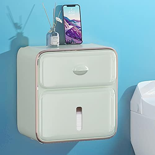 Sxcespp Caja de almacenamiento de pared para baño, Soporte de papel higiénico impermeable para baño, Instalación autoadhesiva sin perforaciones, Toallas de papel higiénico para el hogar, Artículos dom