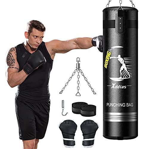 XDDIAS Punchingsäcke,110*30 cm Boxsack Set Gefüllte Hängender Boxsack für Erwachsene MMA Fitness mit Boxhandschuhen, Handwickeln und Hängenden Ketten