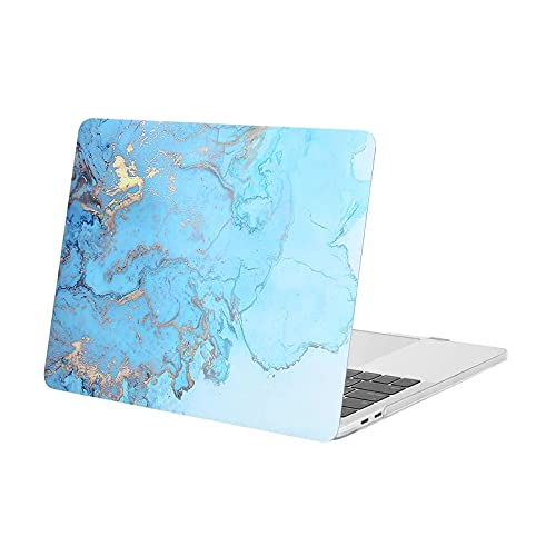 MOSISO Compatible with MacBook Pro 13 inch Case 2020 2019 2018 2017 2016 Release A2338 M1 A2289 A2251 A2159 A1989 A1706 A1708 with/without Touch Bar, Plastic Watercolor Marble Hard Case, Turquoise