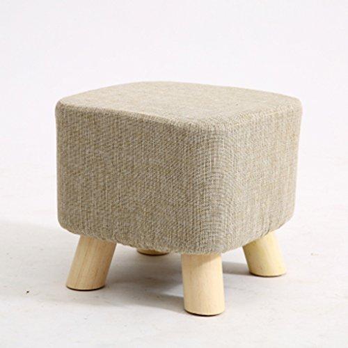 Salon Tabouret de canapé en bois massif Tabouret de famille tabouret 28 * 28 * 25cm (Color : Beige)