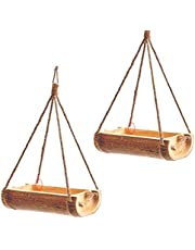 LIVEONCE Bamboo Open Feeder for Birds Set of 2- Color -Natural