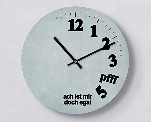Moderne Wanduhr Mir Egal | Blau | Verrückte Uhr | 30 cm | Außergewöhnlich | Kreative Idee | Leise | Handmade | für Freigeister | Rund | Fun