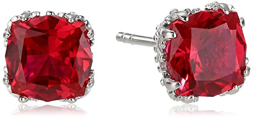 Created Ruby Jubilee Cut Stud Earrings with Crown Setting in Sterling Silver (7mm)