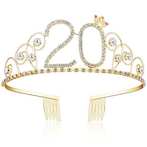 ArtiDeco Kristall Geburtstag Tiara Gold Birthday Crown Prinzessin Kronen Haar-Zusätze Gold Diamante Glücklicher 16/18/20/21/30/40/50/60/70/80/90/100 Geburtstag (20 Jahre alt)