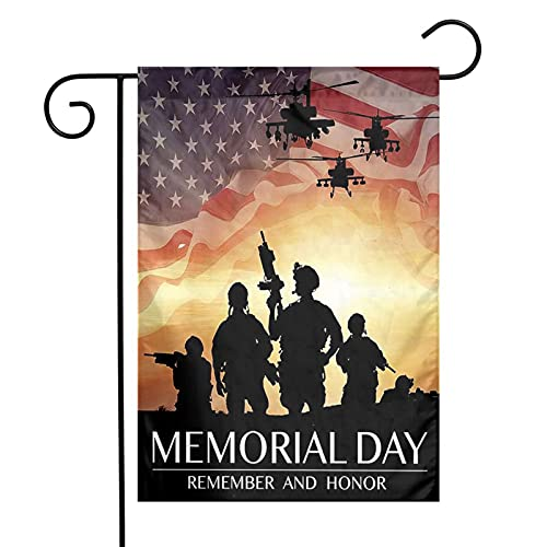 American Military Memorial Day 12 x18 Inch Floral Garden Yard Flag, American Military Memorial Day Banner for Home Decorative House Yard Sign