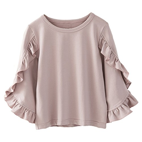 Colorful Childhood Little Girls Ruffle Bat T Shirt Autumn Princess Girl Blouses Spring Tops Size 6-7t Dusty Pink