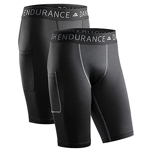 DANISH ENDURANCE Men's Compression Shorts (Multicolour (1x Black, 1x...