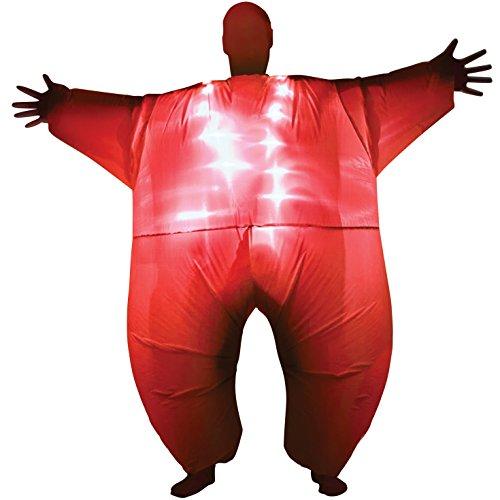 Morph Rotes Leuchtendes Aufblasbares Kostüm für Erwachsene, MegaMorph - Einheitsgröße