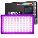 INSSTRO C1 RGB LED-Videoleuchte , Vollfarben 0-360° & 10-Szenario-Lichteffekte, Wiederaufladbare mit Lithiumbatterie zum Filmen, Live-Streaming, Mikrofilm, Aufnehmen