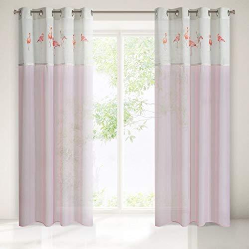 Eurofirany Set 2X Vorhänge Ösenvorhänge 140x250 cm Flamingo rosa Wohnzimmer Küche Gardinen Pink Shabby