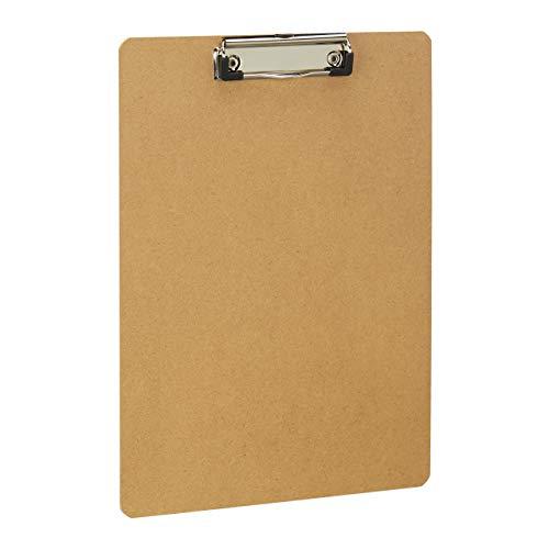Relaxdays Klembord DIN A4-formaat, met klem & ophangoog, onderweg noteren, MDF-plaat, HxB: 31,5 x 22,5 cm, naturel