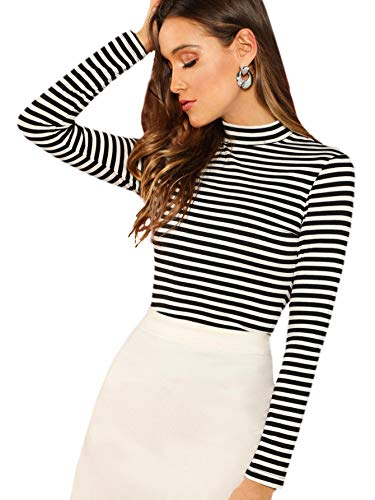 Floerns Women's High Neck, Long Sleeve Slim Fit Stretch Striped T-Shirts Black and White, L