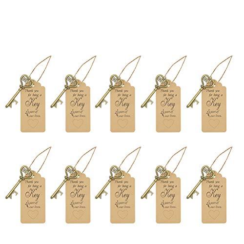 ABOOFAN 10 abrebotellas con forma de llave, práctico estilo simple, sacacorchos, colgante para fiesta
