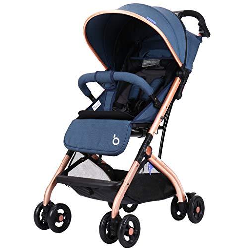 WWWANG - Cochecito de bebé de lujo, resortes antichoque con posición reclinable, plegable, sistema de viaje para bebé, cochecito de bebé con marco de aluminio gris gris