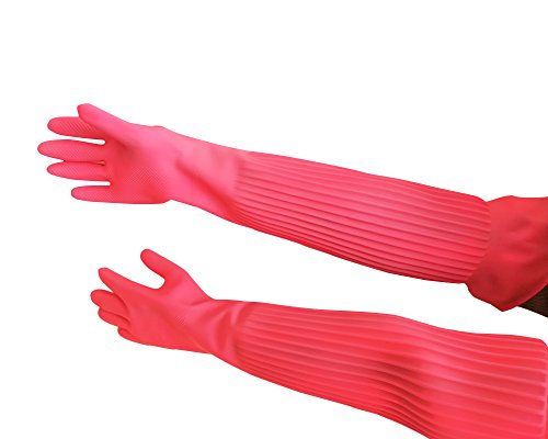 Hangnuo Gummihandschuhe / Latexhandschuhe Ellenbogen-Länge, wiederverwendbar, wasserdicht für Garten, Reinigung, Abwaschen, 58 cm, Rosa, 1 Paar, Large