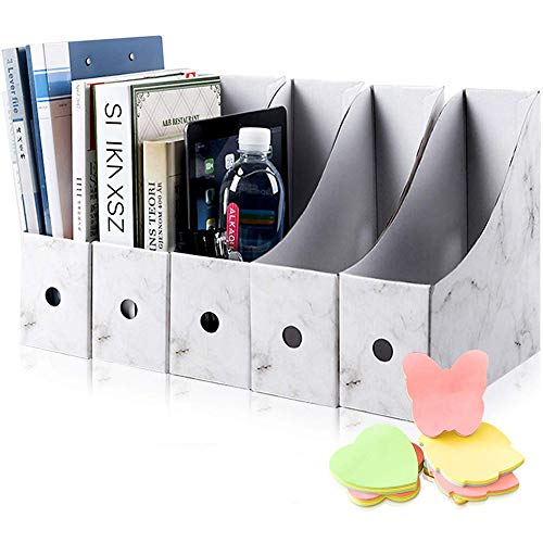 HINATAA Caja de Almacenamiento de la Oficina Revistero,5 PCS Porta Revistas Kraft A4 Organizador de Papel,Organizador de Documentos y Archivos,para Oficina en Casa Caja de Almacenamiento (Blanco)